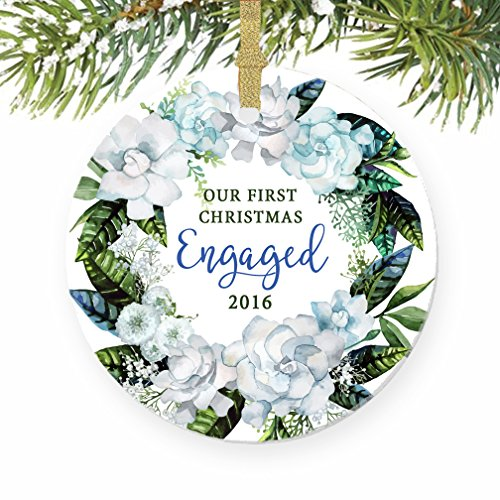 Our First Christmas Engaged Ornament 2016, Floral Wreath Engagement Gift Porcelain Ornament, 3