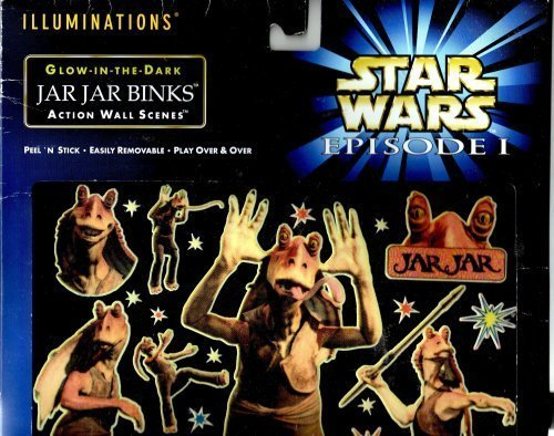 Star Wars Episode 1 Illuminations Glow-in-the-dark Jar Jar Binks Action Wall Scene - 1