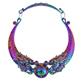Lanue Women Retro Ethnic Carved Colorful Chunky Collar Choker Necklace Indian Exaggerated Jewelry (Colorful dragon)