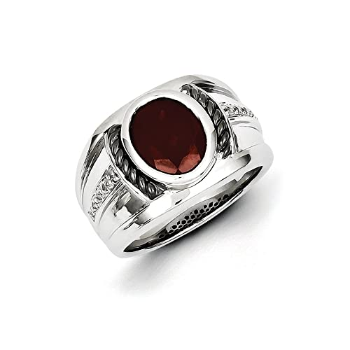 Black Bow Jewellery Company : Oval Garnet & Diamond Wide Tapered Ring in Two Tone Sterling Silver