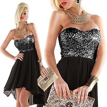 Damen Pailletten Abend Kleid Silvester Bandeau Kleid vorne ...