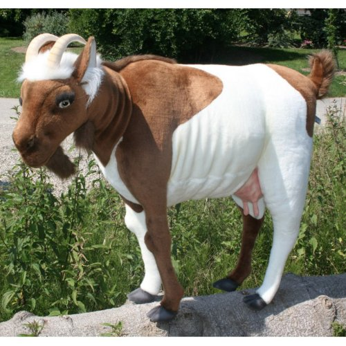 life size goat plush stuffed animal in brown white ryan cavalcantina. Black Bedroom Furniture Sets. Home Design Ideas