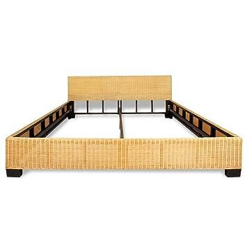 Anself Doppelbett Holzbett mit Bananengeflecht 180 x 200 cm