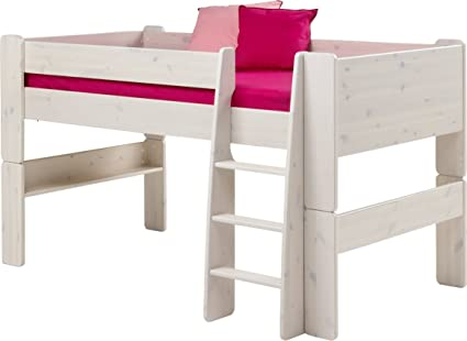 Steens Kids Mid Sleeper Pine Bed, Whitewash Finish