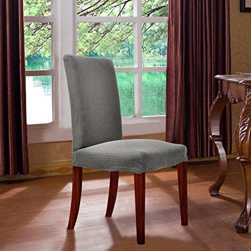 CHUN YI 伸縮素材 防水 ジャカード 椅子カバー (2枚, グレー)