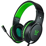 Gaming Headset for Xbox One, PS4,ifmeyasi Professional 3.5mm Game Headset Over-Ear Stereo Headphones Noise Cancelling with Micophone(green) (Color: Green)
