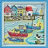 Anself DIY Handmade Needlework Counted Cross Stitch Set Embroidery Kit 14CT Love Harbor Pattern Cross Stitching 32 33cm Home Decoration