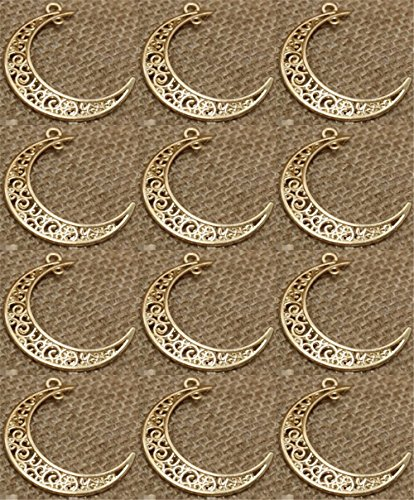 Y&Y Star 12pcs Alloy moon style Charms Pendant for Crafting, Jewelry Making Accessory (12pcs moon KC gold)
