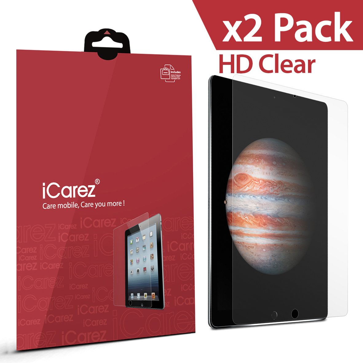 "Apple iPad Pro 12.9"" Screen Protector , iCarez® (HD Clear) ( Unique Hinge Install Method With Kits ) Premium Product with Lifetime Replacement Warranty (2-Pack) - Retail Packaging 2015"