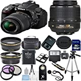 Nikon D5300 24.2 MP CMOS Digital SLR with 18-55mm f/3.5-5.6 AF-S DX VR NIKKOR Zoom Lens (Black) + Lens Cap Keeper + .43x Wide Angle Lens + 2.2x Telephoto Lens + High Power Slave Flash + Wireless Remote + Deluxe 3pc Filter Kit (UV + CPL + FLD) + Gadget Bag + 16GB Complete Accessory Bundle