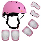 Lanova Kids Adjustable Sports Protective Gear Set Safety Pad Safeguard (Helmet Knee Elbow Wrist) Roller Bicycle BMX Bike Skateboard and Other Extreme Sports Activities (Pink) (Color: Pink)
