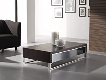 Modern Coffee Table in Dark Oak/ Chrome