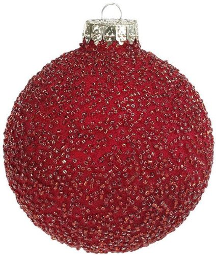 Martha Stewart Living™ Beaded Glass Ornaments Set Of 4, SOLID, RED