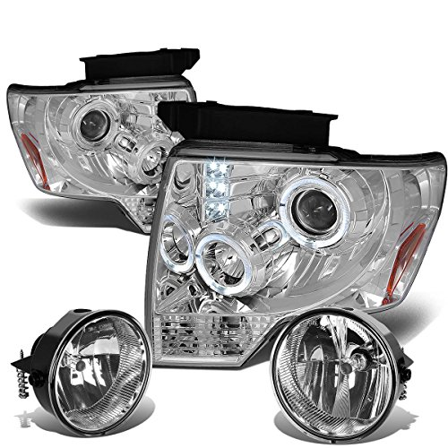 Ford F150 12th Gen Chrome Housing Amber Corner Halo Projector Headlights + Clear Lens Fog Lights (2011 Ford F150 Halo Headlights compare prices)