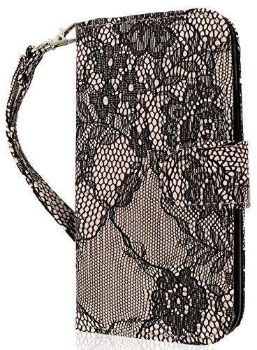 myLife Black Flower Lace {Classic Fashion Design} Faux Leather (Card, Cash and ID Holder   Magnetic Closing) Slim Wallet for the AllNew HTC One M8 Android Smartphone  AKA, 2nd Gen HTC One (External Textured Synthetic Leather with Magnetic Clip   Internal  Picture