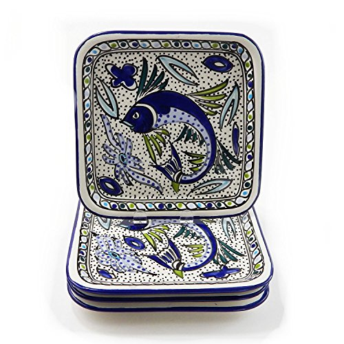 Le Souk Ceramique Square Plates, Set Of 4, Aqua Fish Design
