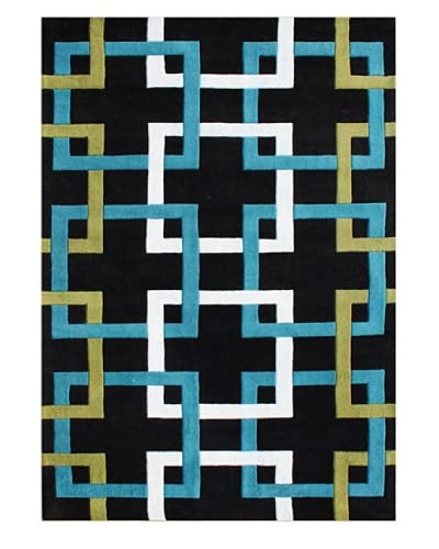 Alliyah Rugs Metro Puzzle Rug, Black/Green/Blue/Charcoal, 5' x 8' As You See