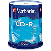 Verbatim VER94554 700MB 52x 80 Minute Branded Recordable Disc CD-R 100Pc Disc Spindle