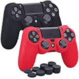 YoRHa Studded Silicone Cover Skin Case for Sony PS4/slim/Pro Dualshock 4 controller x 2(black+red) With Pro thumb grips x 8 (Color: black&red, Tamaño: studded pack)