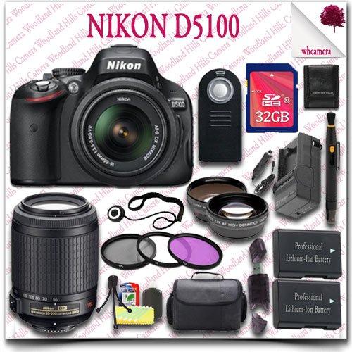 Nikon D5100 Digital Slr Camera With 18-55Mm Af-S Dx Vr (Black) + Nikon 55-200Mm Af-S Dx Vr Lens + 32Gb Sdhc Class 10 Card + Wide Angle Lens / Telephoto Lens + 3Pc Filter Kit + Slr Gadget Bag + Wireless Remote 21Pc Nikon Saver Bundle
