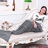 Cola de la sirena de la manta de punto hecho a mano con el patrón de escama de pescado, caliente del sofá de la sala Lanza Saco de dormir para adultos 190cmX90cm