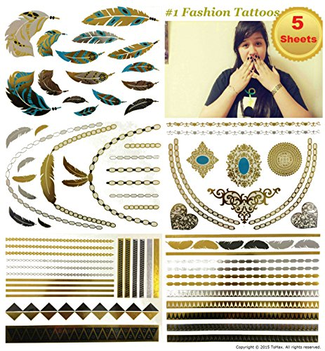 Metallic Gold Silver Black Jewelry Temporary Bling Tattoo All-In-One Package 5 Sheets (Style#1)