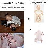 Zero Pam Sleep Reborn Baby Doll Kits DIY Doll Making Supplies 20 inch Unpainted Doll Kit Include Head, Limbs, Cloth Body and Eyes Close (TYA008-sleeping Baby) (Color: TYA008-sleeping baby)