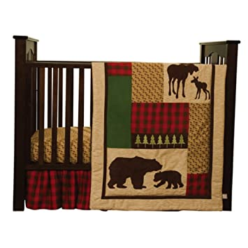 Moose 6 Piece Crib Set Bedding Set with Moose
