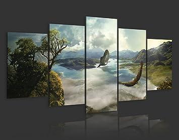 impression sur toile 200x100 200x100 cm grand format 5 5 parties image sur. Black Bedroom Furniture Sets. Home Design Ideas