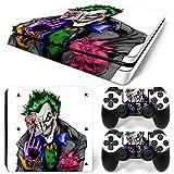 ZOOMHITSKINS PS4 Slim Skin Decal Sticker Joker White Custom Design + 2 Controller Skins Set