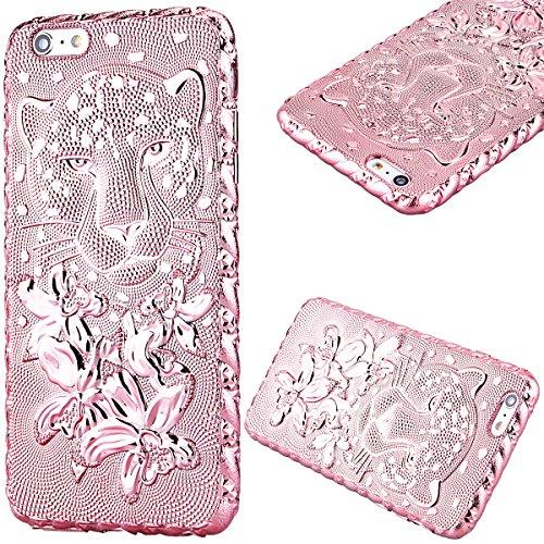 """GrandEver Morbido Cover per iPhone 6 iPhone 6S (4.7""""),Design 3D Strass Brillare Leopardo Custodia, Alta Qualità UltraSlim TPU Gel Silicone Placcatura Case Flexible Protettiva Copertura con Bling Diamante -Rosa"""