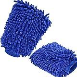 Wasserdicht Mikrofaser Handschuh,2PCS Nakeey Auto Waschhandschuh,Handschuhe Chenille Mitt Premium Qualität Reinigungstuch für 26 x 18cm Blau
