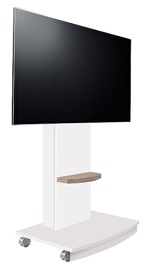 Suenoszzz- 4238 B/Cm - Mesa Tv Mueble Auxiliar En Madera Color Blanco Y Cambrian . Incluye Ruedas Medidas: 72X 50 X 130 Cm.