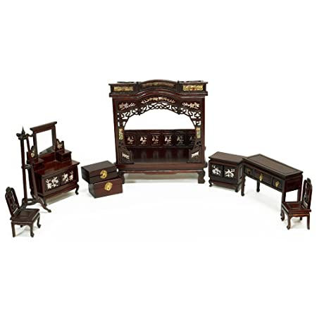Hand-Carved Rosewood Miniature Chinese Bed Room Set