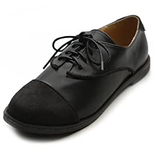 Ollio Women's Flat Shoe Lace Up Faux Suede Two Tone Oxford(7 B(M) US, Black)