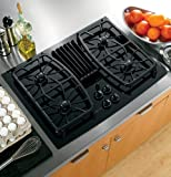 GE Profile : PGP989DNBB 30 Gas Downdraft Cooktop with 400 CFM, 4 Sealed Burners - Black