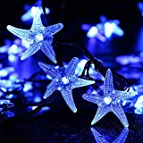 LUCKLED Original Starfish Solar String Lights, 20ft 30 LED Fairy Christmas Lights Decorative Lighting for Indoor/Outdoor, Garden, Home, Patio, Porch, Party and Holiday Decorations(Blue)