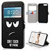 iPhone 7 Plus Filp Case, Lanveni Fenster-Design Ledertasche für iPhone 7 Plus Hülle PU Schutzhüllen Shell Back Magnetic Snap Telefon-Kasten Tasche Card Slot Etui Bookstyle Standfunktion Handyhülle Don't Touch My Phone