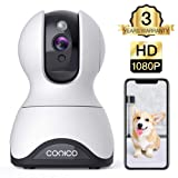 Pet Camera,Conico 1080P HD Wireless IP Camera with Sound and Motion Detection Two-Way Audio,Pan/Tilt/Zoom WiFi Dome Camera,Home Security Baby Monitor with Night Vision Work with Alexa (Color: White)