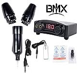 BMX Professional Rotary Machine Tattoo Kit Cartridge Machine Rotary Tattoo Pen Rotary with 2 Switzerland Coreless Motors Power Supply Foot Pedal for Tattoo Artist (Color: Kit, Tamaño: Tattoo Kit)