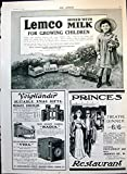 Old Original Antique Victorian Print Lemco Child Adverts Princes Theatre Dinner A Clark Gifts 1910 118T147