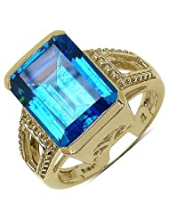 Suraabi 10.67CTW Blue Cubic Zirconia 14K Yellow Gold Plated Brass Ring For Women