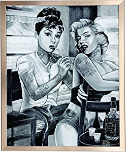 Framed audrey hepburn and marilyn monroe for Marilyn monroe with tattoos poster