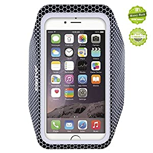 iPhone 6 Armband, EOTW Ultra-Thin Light-Weight Waterproof Running Armband with Key Cash Holder for iPhone 6/6s (Black)