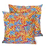 CushionArt Pattana - Light Weight Cotton Throw Pillow Cushion Cover - Tropicana Orange 18x18in - Set of 2