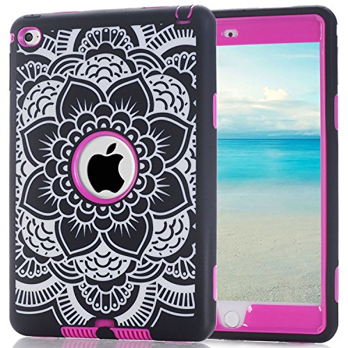 iPad Mini 4 Case, Speedup 3 in 1 Shockproof Hybrid Case Hard Cover PC + Silicone Full Body Protective High Impact Defender Cover For Apple 7.9 inch iPad Mini4 (Flower / Pink) (Ipod Touch Loop Space Gray compare prices)