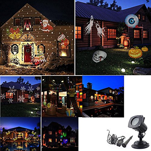 Projector Lights 12 Pattern Gobos Outdoor Garden Lamp Lighting Waterproof Sparkling Landscape Projection Light for Decoration Lighting on Christmas Halloween Holiday Party
