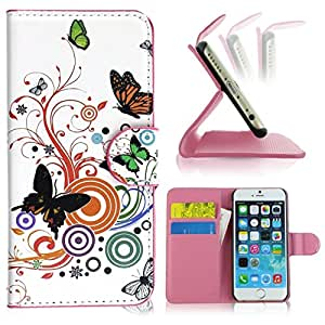 PASONOMI Butterfly and Swirl Tree Wallet Stand Leather Case with Card Slot for Apple iPhone 6 Plus 5.5' 5.5 inch...