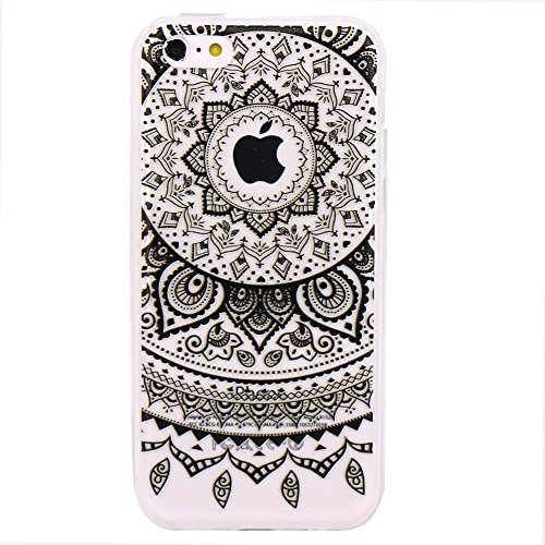 iPhone 5C Cover, JIAXIUFEN TPU Gel Silicone Protettivo Skin Custodia Protettiva Shell Case Cover Per Apple iPhone 5C - Black Circle Flower Tribal Mandala