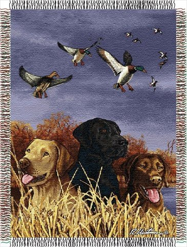 Hautman Brothers, Bird Dog Trio 48-Inch-By-60-Inch Acrylic Tapestry Throw By The Northwest Company